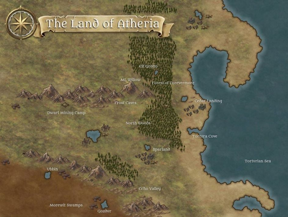 Map of Atheria - a girl's story book adventure world